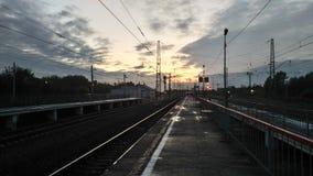 Järnvägstantion på moln Fotografering för Bildbyråer