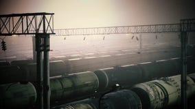Järnvägtrans.behållare med olja lager videofilmer