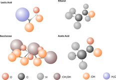 Jäsningmolekylar royaltyfri illustrationer