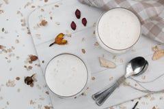 Jäst bakat mjölka Ryazhenka, rysk och ukrainsk kokkonst för drinken, kefir, bakterie- jäsningstartknapp i ett exponeringsglas på  arkivfoto