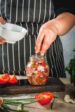 Jäst matlagning bevarade mat fotografering för bildbyråer