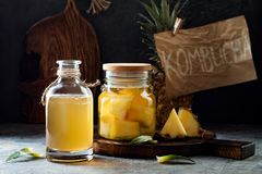 Jäst mexikansk ananas Tepache Hemlagat rått kombuchate med ananas Sund naturlig probiotic smaksatt drink arkivbild