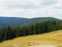 Jätte- berg, beskådar uppifrån, västra Sudetes royaltyfri bild