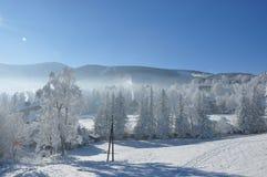 Jätte- berg/Karkonosze, Karpacz vinter Arkivfoto