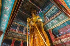 Jätte- Buddha i Lama Yonghe Temple i Peking Kina Royaltyfri Foto
