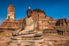 Jätte buddha på Ayuthaya Royaltyfri Foto