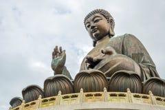 Jätte- Buddha på Po Lin Monastery Hong Kong Arkivbild