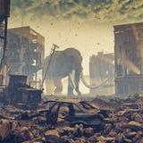 Jätte- elefant i förstörd stad Arkivbild