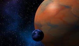 Jätte- exoplanets i djup bakgrund för universumdesignbegrepp Royaltyfri Fotografi