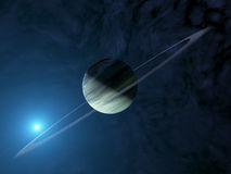 Jätte- extrasolar gasplanet med cirkelsystemet Royaltyfri Foto