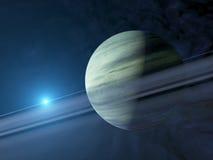 Jätte- extrasolar gasplanet med cirkelsystemet Arkivbilder