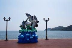 Jätte- fiskskulptur Royaltyfri Bild