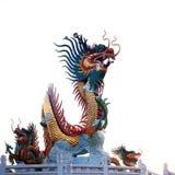 Jätte- guld- kinesisk drake Arkivbilder