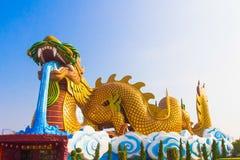 Jätte- guld- kinesisk drake Royaltyfri Foto