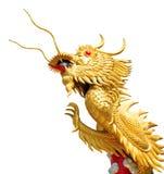 Jätte- guld- kinesisk drake på isolatvitbakgrund Arkivfoto