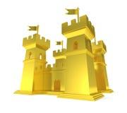 Jätte- guld- slott för guld- fästning royaltyfri illustrationer