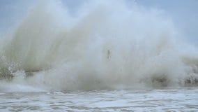 Jätte- havsvågnedgång på strand långsam rörelse 2mov stock video