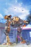 Jätte- robot på striden med piloten Arkivbilder