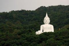 Jätte- vit bild av Buddha med grönt berg 7 Royaltyfria Bilder