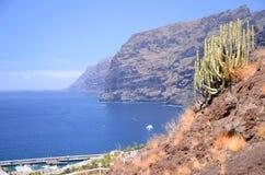 Jätte- vulkaniska klippor för Los Gigantes på Tenerife Arkivbilder