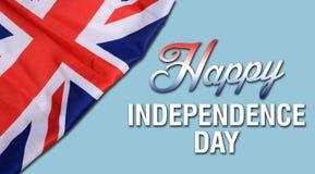 Jätteglad Förenade kungariket självständighetsdagen med UK-flaggan Arkivbilder