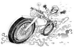 Jätteglad man och ridningtappningmortocycle stock illustrationer