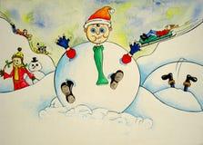 jätten kastar snöboll royaltyfri illustrationer