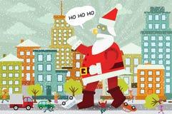 Jätten Santa Claus anfaller staden stock illustrationer