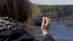Jättevägbank - en populär gränsmärke i nordligt - Irland arkivfilmer