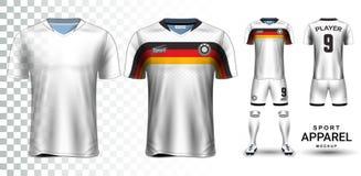 Jérsei de futebol e futebol Kit Presentation Mockup Template Fotos de Stock
