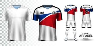 Jérsei de futebol e futebol Kit Presentation Mockup Template Fotografia de Stock