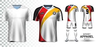 Jérsei de futebol e futebol Kit Presentation Mockup Template Imagem de Stock