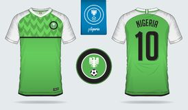 Jérsei de futebol ou projeto do molde do jogo do futebol para a equipa de futebol do nacional de Nigéria Uniforme dianteiro e tra Imagens de Stock
