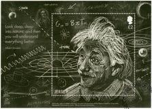 JÉRSEI - 2016: mostras Albert Einstein 1879-1955, físico, teoria do ` s de Einstein da relatividade geral imagens de stock