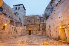 Jérusalem - église de la tombe sainte au crépuscule image stock