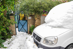 Jérusalem dans la neige Image stock