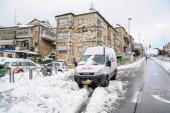 Jérusalem dans la neige Photographie stock libre de droits