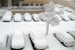 Jérusalem de blanc : La neige tombe dans la capitale photographie stock