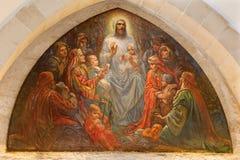 Jérusalem - de Jésus parmi les enfants dans l'église d'anglicans de St George de la fin de 19 cent Images stock