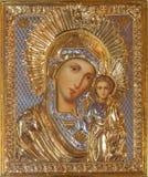 Jérusalem - l'icône de Madonna dans l'église orthodoxe russe de Mary sainte de Magdalene par l'artiste inconnu sur le mont des Ol Photographie stock