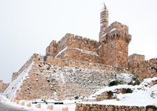 Jérusalem, la forteresse de David dans la neige Photographie stock libre de droits