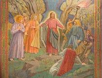 Jérusalem - la mosaïque d'arrêter de Jésus dans le jardin de Gethsemane dans l'église de toutes les nations (basilique de l'agoni photographie stock libre de droits