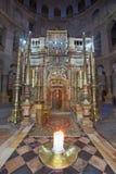 Jérusalem - la tombe du Christ au tombeau de Golgotha ou de calvaire dans la basilique de la tombe sainte photographie stock libre de droits