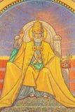 Jérusalem - mosaïque symbolique de St Peter en tant que premier pape dans l'église de St Peter dans Gallicantu photos stock
