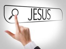 Jésus écrit dans la barre de recherche sur l'écran virtuel photo libre de droits