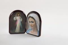 Jésus compatissant et notre Madame des icônes de Medjugorje photographie stock libre de droits