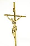 Jésus d'or sur la croix Photographie stock
