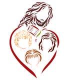 Jésus, enfants, la bible et la croix illustration stock