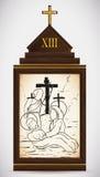 Jésus est pris vers le bas de la croix, illustration de vecteur Photographie stock