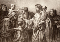 Jésus et enfants - gravure Photo stock